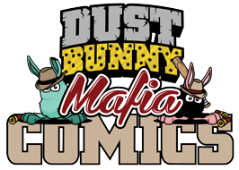 Dust Bunny Mafia Comics Logo with Leo the Boss and Jimmy the Nose